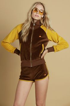 track jacket, 70s tracksuit, 70s clothes, mustard and brown