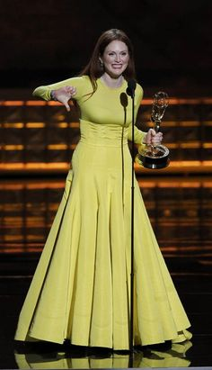 """After winning the award for outstanding lead actress in a miniseries or movie for """"Game Change,"""" Julianne Moore announced, """"I feel so validated because Sarah Palin gave me a big thumbs down."""" Moore played the former Alaska governor and 2008 vice-presidential candidate in the miniseries, which had a big night Sunday, claiming four Emmys. (Photo: Lucy Nicholson / Reuters) #Emmys"""