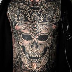 "@jondix ""CHEST PIECE"" #chesttattoo #chesttattoos #chestpiece #blackandgrey #blackink #blackandgreytattoo #tattoo #tattoos #tattooed #tattooart #tattooedlife #tatuaje #tattooing #ink #inked #skinart #photography #photoshoot #la #laart #nyc #nycart #uk #ukart #skulltattoo"