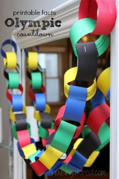 Paper Chain Countdown Count down to the Olympics. The PDF consists of 25 Olympic facts one for each ring of the chain.Count down to the Olympics. The PDF consists of 25 Olympic facts one for each ring of the chain. Beer Olympics Party, Olympics Facts, Kids Olympics, Summer Olympics, 2020 Olympics, Special Olympics, Office Olympics, Olympic Games For Kids, Olympic Idea