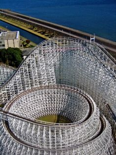 White Cyclone roller coaster at Nagashima Spaland in Mie, Japan. by Eva