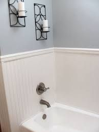 More Economical Than Tile Surround   Continue The Beadboard (paint With  High Gloss White? Another Blue U0026 White Bath!