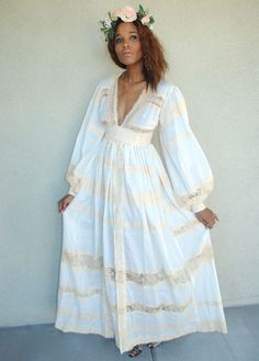 vintage white cotton empire waist maxi dress. BOHO WEDDING DRESS. hippie bohemian hippy long wedding dress. puff sleeve. size small