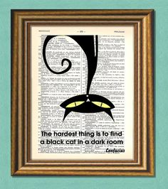 BLACK CAT In a Dark Room   Dictionary art by littlevintagechest, $7.99