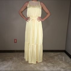 NWOT yellow maxi dress with cream lace detail NWOT soft, feminine and perfect for spring! Yellow maxi dress with lace detail by White House Black Market. Has a tasseled tie for waist. Beautiful! I'm open to offers & give bundle discounts! ☮❤️✌️ White House Black Market Dresses Maxi