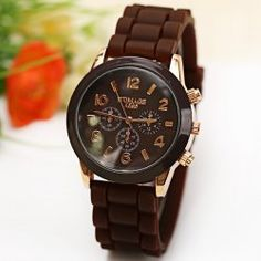 $3.90 WoMaGe Quartz Watch 6 Numbers and Rectangles Indicate Rubber Watch Band for Women - Coffee