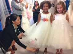 Emmy Skelton and two flower girls at the Chicago Bridal Market