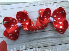 Set Small Red and White Polka Dot Pigtail Hair Bows Toddler