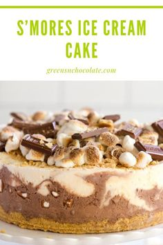 S'mores Ice Cream Cake is perfect to whip up in advance for a BBQ or any summer gathering.  It will definitely be a show-stopper and crowd pleaser! #icecreamcake #smorescake #smoresicecream | greensnchocolate.com @greenschocolate How To Make Frosting, How To Make Cake, Frozen Cake, Frozen Desserts, Whipped Cream, Ice Cream, Smores Cake, Icecream Bar, Buttercream Frosting
