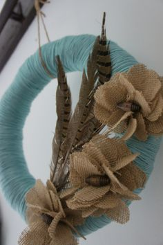 straw, recycled blend yarn, burlap & vintage buttons