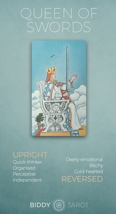 Detailed Tarot card meaning for the Queen of Swords including upright and reversed card meanings. Access the Biddy Tarot Card Meanings database - an extensive Tarot resource. What Are Tarot Cards, Major Arcana Cards, Tarot Astrology, Astrology Numerology, Tarot Card Meanings, Tarot Card Decks, Tarot Spreads, Tarot Readers, Card Reading