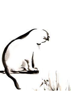 Minimalist Cat - Watercolor Painting Art Print - Black and White - Cat Art - Modern - Minimalism - Wall Decor