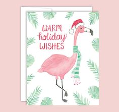 Flamingo Holiday Card Flamingo Christmas Card by LeveretPaperie