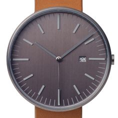 203 Series (gun grey/tan) watch by Uniform Wares. Available at Dezeen Watch Store: www.dezeenwatchstore.com