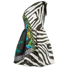 Marc Jacobs Paradise Print One Shoulder Dress (1,130 CAD) ❤ liked on Polyvore featuring dresses, white flare dress, white cocktail dress, animal print cocktail dress, animal print dresses and satin cocktail dress