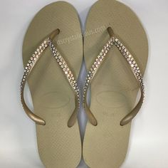 8a0b0cb5383 Gold Thin Strap SWAROVSKI® embellished Havaiana - 2 Rows  Bling Flip Flops