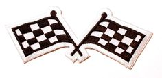 black and white racing flags iron on patch by DoubleDice on Etsy, £3.50
