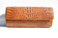 TAN 1990's-2000's HORNBACK Crocodile Skin CLUTCH Cross Body Shoulder Bag - EILEEN KRAMER