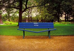 """Wonderfully Clever Bench Advertising. The Becherovka """"Get Closer"""" Park Bench. This would definitely get noticed. The site explains: """"Becherovka is a traditional Czech liquor enjoyed my men and women. Long-term communication strategy of Becherovka is captured is a slogan: Get closes. That's why our Becherovka bench is specially designed to help people do just that."""""""