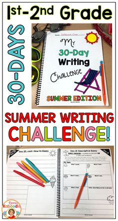 Are you a teacher who wants to give your students a meaningful and fun summer writing challenge? This 30-day summer writing challenge was created for 1st and 2nd grade students and includes 30 writing activities (journal prompts, story starters, essays, narrative writing, newspaper articles and MORE!). The pages in this product were designed to be copied front to back and bound in some way. Keep your kids engaged in meaningful writing activities so they don't experience the summer slide!