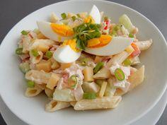 Těstovinový salát svajíčkem Bon Appetit, Pasta Salad, Ham, Potato Salad, Salads, Food Porn, Food And Drink, Veggies, Tasty