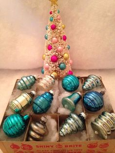Vtg Shiny Brite Teal Blues Assorted Shapes Swirls Lantern Xmas Ornament