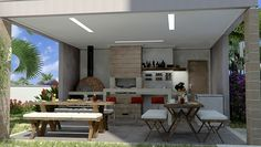 Construindo Minha Casa Clean: 30 Ideias de Varandas com Churrasqueiras e Fornos de Pizza!
