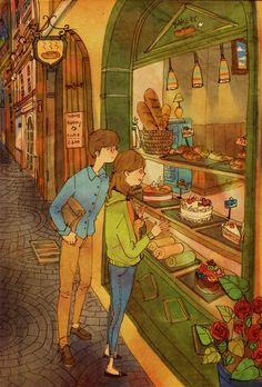 """These Heartwarming Korean Drawings Show What Love Is Really About By Korean artist """"Puuung"""" Couple Illustration, Illustration Art, Puuung Love Is, Art Magique, What's True Love, Korean Artist, Couple Art, Illustrations, Conte"""
