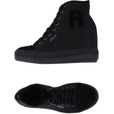 Ruco Line Sneakers (€60) ❤ liked on Polyvore featuring shoes, sneakers, black, black wedge heel shoes, black wedge heel sneakers, kohl shoes, wedge trainers and black rubber sole shoes