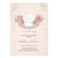 Bunny Baby Shower Invitations New Bunny Baby Shower Invitation Rabbit Spring Floral Zazzle Easter Invitations, Custom Baby Shower Invitations, Wedding Invitations, Couples Baby Showers, Baby Shower Invitaciones, Bunny Birthday, Baby Shower Fun, Fun Baby, Baby Baby