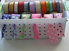 How great is this idea!!??!? organize your ribbon!