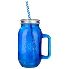 Down Home Country Drinkware by New View Gifts & Accessories, Ltd. 24-Oz Sapphire Mason Drinking Jar with Handle & Straw | Shop Hobby Lobby