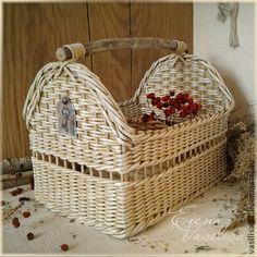 """Корзины, коробы ручной работы. Ярмарка Мастеров - ручная работа Короб плетеный """"Antique white 2"""". Handmade."""