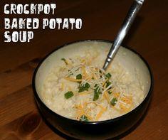 The Chronicles of Ruthie Hart: Baked potato crock pot soup Slow Cooker Recipes, Crockpot Recipes, Soup Recipes, Great Recipes, Dinner Recipes, Favorite Recipes, Dinner Ideas, Recipies, Crockpot Dishes