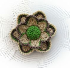 HAND CROCHET FLOWER BROOCH APPLIQUE DUSKY YELLOW FLOWER