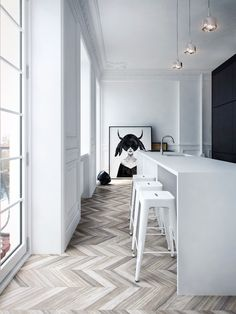 Interior MA by Architecture. Love the white color palette herringbone floor and art print. Great metal bar stools and floor to ceiling windows. House Design, Interior, Interior Inspiration, Home, Interior Architecture, House Interior, White Interior, Flooring, Modern Apartment