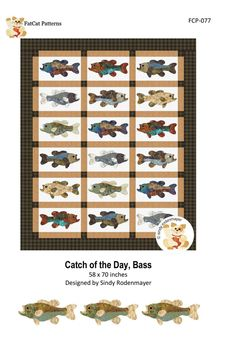 Catch of the Day, Bass Pattern – Quilting Books Patterns and Notions Fish Quilt Pattern, Applique Quilt Patterns, Cat Pattern, Applique Designs, Pattern Paper, Cross Stitch Patterns, Applique Templates, Book Quilt, Barn Quilts