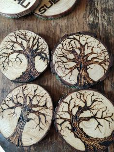 Excited to share the latest addition to my shop: Log slice tree coaster, t. Wood Slice Crafts, Wood Burning Crafts, Wood Burning Patterns, Wood Burning Art, Wood Crafts, Tree Slices, Wood Slices, Woodworking Tools For Sale, Woodworking Projects
