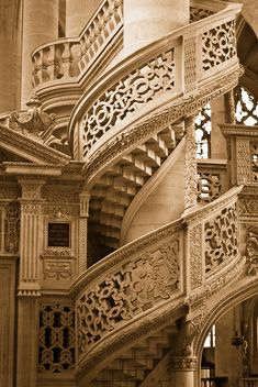 Sunday 26 July '15 ~ Pinned from Nancy Barnard [*PIN OF THE DAY @ Annette Deux] | Spiral Staircase, Saint Etienne-du-Mont, Paris, France