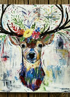 20x24 Original Abstract Deer Painting by JessicaBarrierArt on Etsy