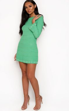 Paris Ribbed Pearl Dress at ikrush Pearl Dress, Paris Dresses, Strappy Heels, Green Dress, Clutch Bag, Hemline, Super Cute, High Neck Dress, Pearls