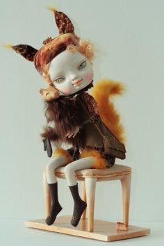 Forest squirrel girl ~ porcelain sculpture doll by Sasha Petrova