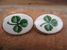 Vintage Shamrock Earrings Clip On Green & White by TreeTownPaper, $26.00