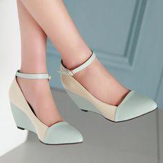Zapatos de Las Mujeres Bombas de Punta estrecha Correa del Tobillo de Los Altos Talones Cuñas de Otoño Zapatos Azules de Las Señoras Grandes del Tamaño 40 41 BB6-0B