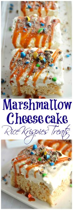 Rice Krispies Treats topped with a marshmallow cheesecake layer, homemade caramel sauce, and crushed up M&Ms.