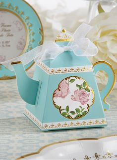 Whether you're hosting a tea party bridal shower or a high tea ladies luncheon, these teapot favor boxes are the perfect favors! | Tea Time Whimsy Teapot Favor Box (Set of 24) | My Wedding Favors