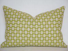 Schumacher -  Celerie Kemble Betwixt  - Chartreuse  - 12 x 18 - Decorative Pillow Cover - Throw Pillow - Accent Pillow. $39.95, via Etsy.