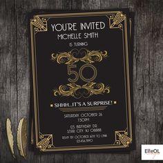 Great Gatsby art deco birthday invitation 21st 30th 40th by ElleOL