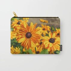 Bright yellow coneflowers on a carry-all pouch - Various sizes available - Ideal for a gift! - #pouches #carryallpouches #cosmeticbags #toiletbags #society6 (affiliate link)