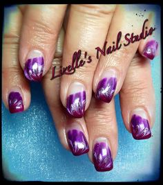 Wine, silver & purple design. Hand-painted nail art. Sculpted gel nails. www.facebook.com/LizellesGelNails